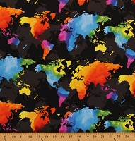 Cotton World Maps Bright Rainbow Continents Travel Countries Oceans Geography Cartography Black Cotton Fabric Print by the Yard (MAP-C8330)