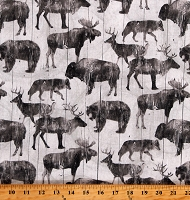 Cotton Animals Wildlife Bears Moose Elk Deer Caribou Wolf Wolves Canyon Creek Cream Cotton Fabric Print by the Yard (23868-11CREAM)