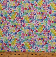 Cotton Colorful Geometric Squares Rainbow Dream Multicolor Cotton Fabric Print by the Yard (DREAM-CD8205WHITE)