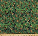 Cotton Pine Cones Needles Evergreen Christmas Trees Wreath Landscape Green Snow Days Cotton Fabric Print by the Yard (1639-66)