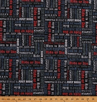 Cotton Words Script Motorcycles Ride or Die Bikers Black Cotton Fabric Print by the Yard (52243-3)