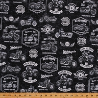 Cotton Retro Motorcycle Vintage Bikes Classic Born to Ride Black Cotton Fabric Print by the Yard (52240-3)