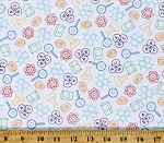Cotton Science Mathematics Chemistry Experiments It's Elementary White Cotton Fabric Print by the Yard (52040-X)