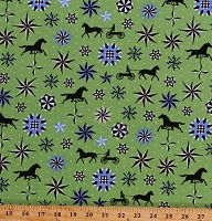 Cotton Weather Vane Quilt Block Country Style Folk Art Fantasy Green Cotton Fabric Print by the Yard (03135-44)