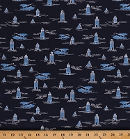 Cotton Lighthouses Lighthouse Ocean Nautical Harry and Alice go to the Sea Cotton Fabric Print by the Yard (C68470)