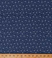 Cotton Horseshoes and Stars on Blue Western Equestrian Southwestern Cowboy Cowgirl Kick Off Your Boots Cotton Fabric Print by the Yard (120-14611)