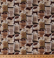 Cotton Coffee Bags of Coffee Beans Coffee Shop Barista Cotton Fabric Print by the Yard (COFFEE-C7256-BLACK)
