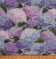 Cotton Hydrangeas Flowers Floral Garden Spring Blooms Purple Cotton Fabric Print by the Yard (2470-75)