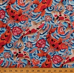 Cotton Koi Fish Colorful Koi Pond Asian Carps Culture Silk Road Cotton Fabric Print by the Yard (PWSL086.BLUE)