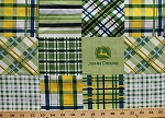 Cotton John Deere Madras Plaid Patches Logo Farming Agriculture Green Yellow Cotton Fabric Print by the Yard (cp37262-160075-blue)