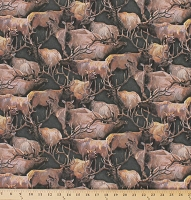 Cotton Elk Deer Herd Animals Wildlife Camping Hunting Mountain Sky Packed Elk Dark Green Cotton Fabric Print by the Yard (8545d-3m)