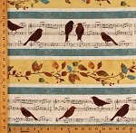 Cotton Songbirds Music Birds Leaves Cotton Fabric Print by the Yard (42352)