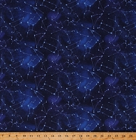 Cotton Constellations Zodiac Outer Space Night Sky Cotton Fabric Print by the Yard (582ROYAL)