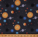 Cotton Outer Space Planets Solar System Moon Sun Out of this World with NASA Grey Cotton Fabric Print by the Yard (C7803-CHARCOAL)