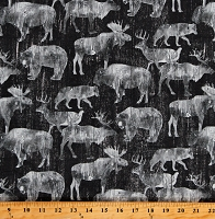 Cotton Animals Wildlife Bears Bison Buffalo Moose Elk Deer Caribou Wolf Wolves Canyon Creek Gray Cotton Fabric Print by the Yard (23868-98CHARCOALMULTI)