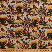 Cotton Chickens Roosters Farm Barnyard Farming Poultry Birds Cream Cotton Fabric Print by the Yard (35324-3896115)