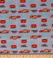 Cotton Lightning McQueen Cars Kids Disney Fireball Racer Gray Cotton Fabric Print by the Yard (70323-6510715)