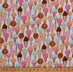 Cotton Ice Cream Cones Desserts Summer Days Ice Cream Scoops Sweet Tooth White Cotton Fabric Print by the Yard (AMKD-19826-287SWEET)