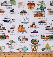Cotton Food Baking Fruits Vegetables Hungry Animal Alphabet White Cotton Fabric Print by the Yard (C10183-OFFWHITE)