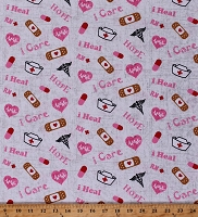 Cotton Nurse Tossed Bandaids Hearts Pills Hope College White Cotton Fabric Print by the Yard (10302-NURSE)