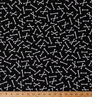 Cotton Skeleton Bones on Black Spooky Halloween Bootiful Bones Faboolous Fun Cotton Fabric Print by the Yard (8982GL-12)