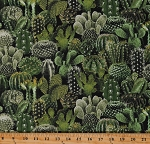 Cotton Cactus Cacti Succulents Plants Green Cotton Fabric Print by the Yard (WEST-C8425-GREEN)