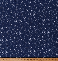 Cotton Moon and Stars Starry Night on Blue Glow for It Cotton Fabric Print by the Yard (8919GL-55)