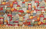 Cotton Farmers Market Food Homemade Goods Packed Cotton Fabric Print by the Yard (cp37543)