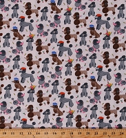 Cotton Small Cute Poodles Dogs on Tiny Pink Stripes Animals Show Dogs Pets Flowers Ooh La La Cotton Fabric Print by the Yard (51489-3)