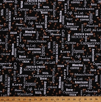 Cotton Coffee Talk Words Phrases Barista Coffee Beans Blends Beverages Coffeehouse Shoppe Black Cotton Fabric Print by the Yard (08878-12)