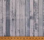 Cotton Barn Wood Boards Floorboards Wooden Planks Blue Cotton Fabric Print by the Yard (HOME-C7178-BLUE)