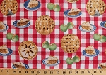 Cotton In the Mix Picnic Tablecloth Check Gingham Apple Pies Slices Red White Cotton Fabric Print by the Yard (37468-1)