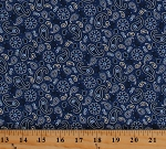 Cotton Paisleys Allover Floral Flowers Patriotic America the Beautiful Fourth of July Blue Cotton Fabric Print by the Yard (1468-77)