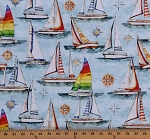 Cotton Sail Boats Sailing Nautical Ocean Sea Waves Compass Smooth Sailing Cotton Fabric Print by the Yard (1649-27159-B)