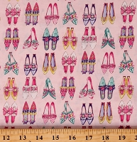 Cotton Shoes Colorful Old Shoes Style Bows Ruffles Ruru Marie Pink Cotton Fabric Print by the Yard (QGRU-2380D14-10-PINK)