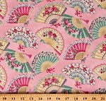 Cotton Old Colorful Fans Hand Fans Flowers Bows Ruru Marie Pink Cotton Fabric Print by the Yard (QGRU-2380D13-10-PINK)