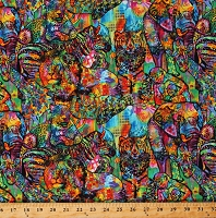 Cotton African Safari Animals Elephants Chimpanzees Lions Zebras Giraffes Cheetahs Rainbow Jungle All Over Cotton Fabric Print by the Yard (10289-ALLOVER)