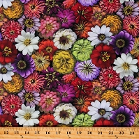 Cotton Flowers all over Daisy Marigold Gardening Gardens Flower Power Multicolor Cotton Fabric Print by the Yard (Y3052-55)