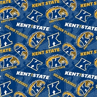 Cotton Kent State University Golden Flashes Logos Blue Tone on Tone College Sports Team Cotton Fabric Print by the Yard (KENT-1178)