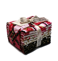 Fat Quarter Bundle Cherish Valentine's Day Sweetheart Hearts Pink Red Black Gold Metallic Quilter's 21 Fat Quarters M204.09