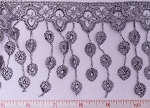 Decorative Trim - Silver/Gray Dangly Crochet Lace Decorative Trimming Sold by the Yard (IR6881GY) M217.17