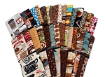 10 Fat Quarters - Coffee Beans Espresso Caffeine Cafe Au Late Mocha Latte Coffee Shop Cups Assorted Quilters Cotton Fabric Bundle M226.07