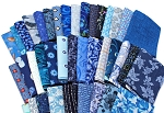 10 Fat Quarters - Assorted Blue Novelty Prints Batiks Calico Blenders Stripes Plaids Floral Stash Building Quality Quilters Cotton Fabric Bundle M226.11