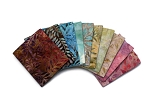 10 Fat Quarters - Batik Light Tones Leaves Quilter's Batik Quality Cotton Fabrics M524.02