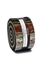 Jelly Roll Artisan Batiks Tavarua Robert Kaufman Green Brown Blue Batik 2.5