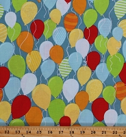 Cotton Birthday Balloons Allover Party Decorations Celebrate Surprise! Cotton Fabric Print by the Yard (C3951BLUE)