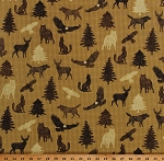 Cotton Northwoods Animals Wildlife Wolves Eagles Deer Hawks Pine Trees Northern Exposure Brown Cotton Fabric Print by the Yard (02222-77)