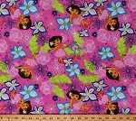 Cotton Dora The Explorer Boots Hawaiian Tropical Summer Flowers on Pink Kids Cotton Fabric Print by the Yard (52290-C470715)