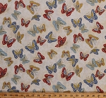 Cotton Cotton Butterflies Butterfly Insects Bugs Metallic Gold on Cream Niwa Cotton Fabric Print by the Yard (4480-25002)