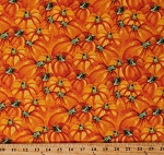 Cotton Pumpkin Pumpkins Harvest Fall Autumn Thanksgiving Orange Cotton Fabric Print by the Yard (9629-ORANGE)